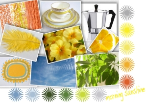 A Colour Love Mood board inspired by the yellow primroses and sitting on my balcony in the morning Sun