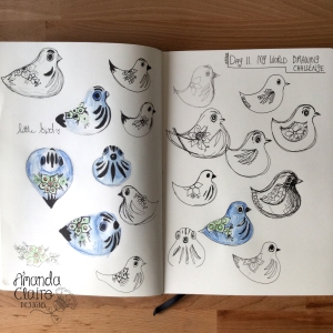 I have had this little bird for years, it sits happily on my shelf, this is the first time i have drawn her. :) I will be making a little bird pattern.