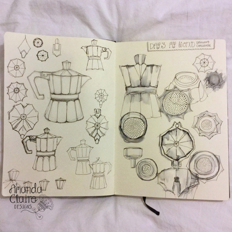 I really do love my coffeepot, going to be making patterns from these drawings.- Lamy pen