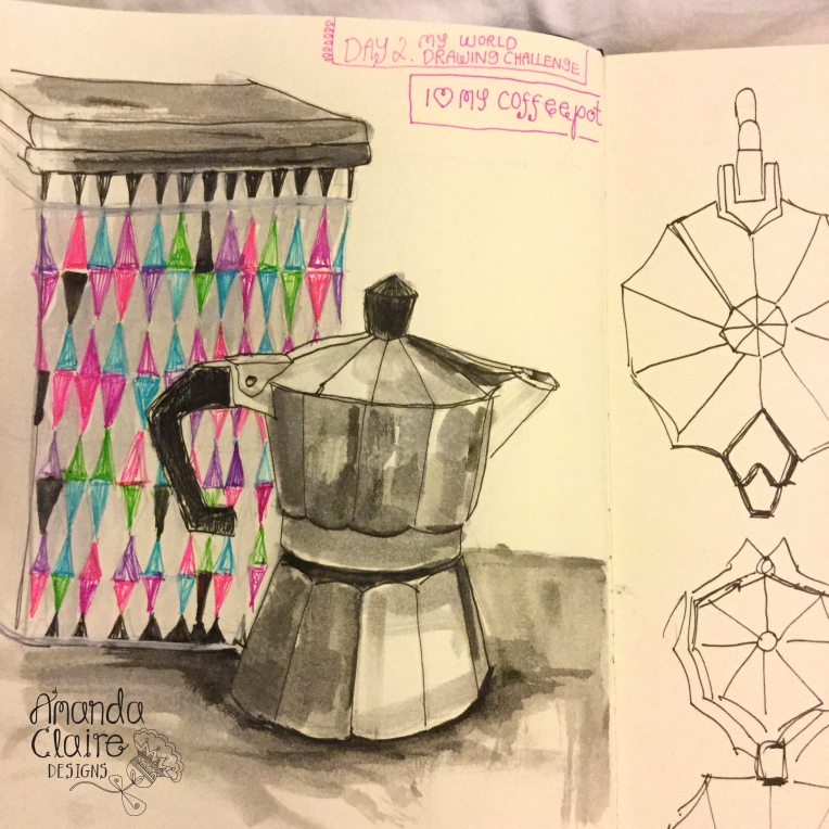 My Coffeepot- I love coffee and am trying not to drink so much- but its hard as i love it :) - Lamy pen and fineliners