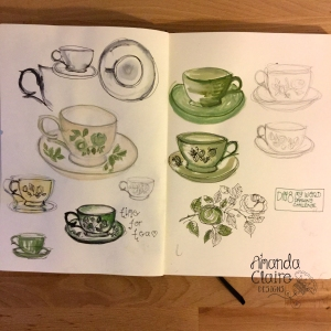 I do love a cup and saucer, painted in gouache and i used my trust Lamy :)