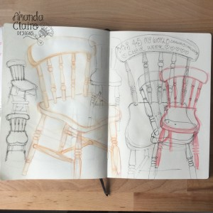 Back to chairs, I have always struggled with scale and I want things to fit on the page but they seem to get bigger, with time and practice It will get better!!