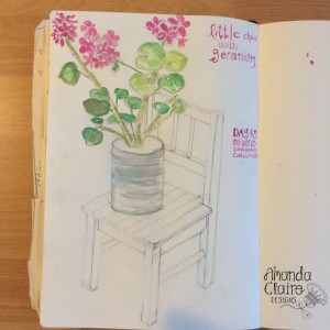 Day 48 - I have decided to still draw chairs but to make them more interesting to draw and then i don't just focus on the chair!! I have added a plant on top.
