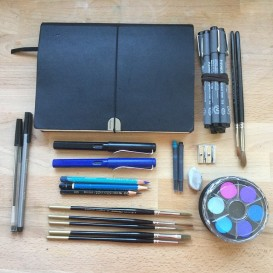 I put together a simple art materials kit to take with me.